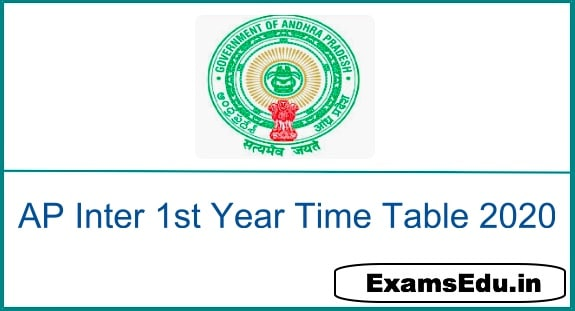AP Inter 1st Year Time Tables 2020
