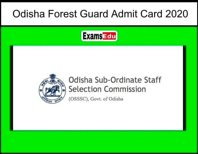 Odisha Forest Guard Admit Card 2020
